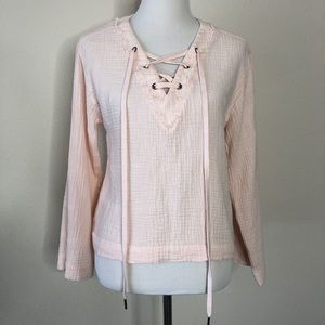 Cloth & Stone pink pull over Top